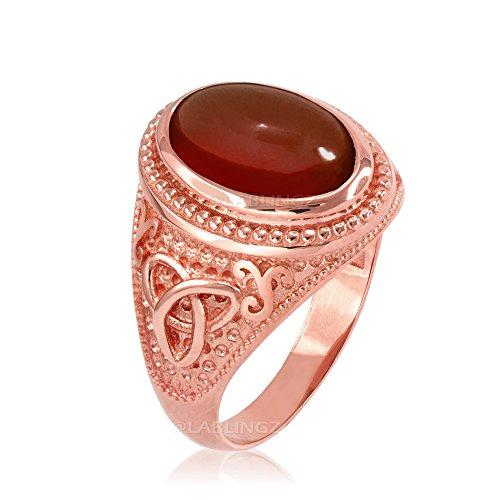 LA BLINGZ 14K Rose Gold Celtic Trinity Red Onyx Gemstone Ring (6.5)
