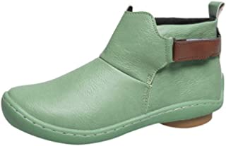 Tiancay Autumn and Winter Women's Boots Large Size Retro Short Rubber Bottom Round Shoes Thick and Low Heel (Color : Green, Size : 42)