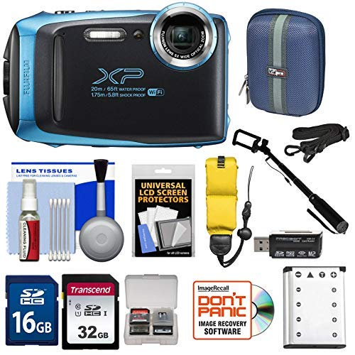 Fujifilm FinePix XP130 Shock & Waterproof Wi-Fi Digital Camera (Sky Blue) with 32GB Card + Battery + Cases + Float Strap + Selfie Stick + Kit