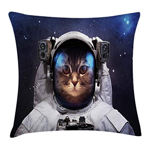 FAFANI Space Cat Throw Pillow Cushion Cover, Milkyway Galaxy Space Traveller Cat in Suit with Stars Backdrop Image, Decorative Square Accent Pillow Case, 18 X 18 Inches, Navy Blue and White