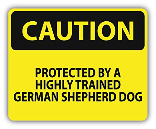 10cm! Klebe-Folie Wetterfest Made-IN-Germany Danger Caution Achtung Vorsicht Protected Highly Trained Variationan Shepherd Dog Hund G02 UV&Waschanlagenfest Auto-Aufkleber Sticker Decal