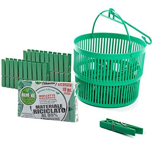 remake Plastica 95% Riciclata. Set 30 Mollette + Cestino Ecologici. Ideali per Bucato, Foto, Decorative. Mollette in Stampo monoblocco. Resistenti e Antivento