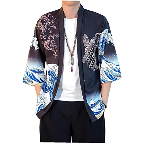 Aiyrchin Estilo japonés Samurai Gato Kimono Streetwear Hombres Mujeres Cardigan Japón Harajuku Animado Animado del Traje Ropa de Verano