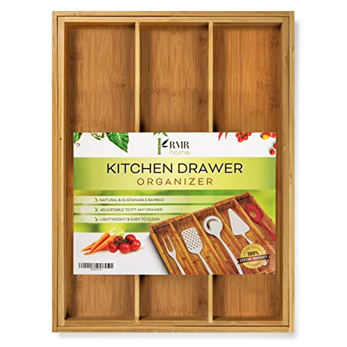RMR Home Bamboo Silverware Drawer Organizer - Expandable Kitchen Drawer Organizer and Utensil Organizer, Perfect Size Cutlery Tray with Drawer Dividers for Kitchen Utensils and Flatware (3-5 Slots)