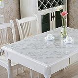 RAIN QUEEN Tischdecke PVC Tischschutz Spitze Schutzfolie Tischfolie (80 * 140cm, Silber Blumen)