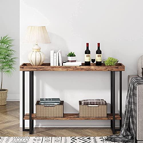 Tribesigns Mesas de consola de 47.24 pulgadas, mesa de entrada industrial con riel de guardia, mesa de vestíbulo para entrada, pasillo, pasillo, cafetería, cocina, etc