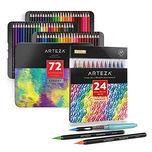 Arteza Real Brush Pens and Watercolor Pencils Bundle, Drawing Art Supplies for Artist, Hobby Painters & Beginners