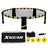 XGEAR Volleyball Game Set, Bouncing Balls Yard Game, Indoor Outdoor Toy Includes Upgraded Round Net, Unique Frame, Sturdy Legs, 4 Balls (2pcs 3.5''/2pcs 4.7''), 1 Pump,1 Carry Bag- Fun for All