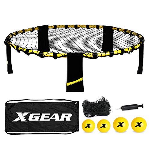 XGEAR Volleyball Spike Battle Ball Standard 4 Ball Kit Upgraded Stronger Playing Net Sturdy LegsIncludes Standard Set 2 Nylon Mesh Nets1 Pump1 Carry Bag Fun for All