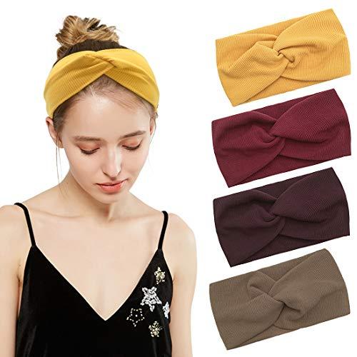 Durio  Haarband Damen Stirnband Elastisch Haarreife Breit Kopfwickel Einfarbig Kopfband Blumendruck Schminken , Einheitsgröße, 4 Pack B-2