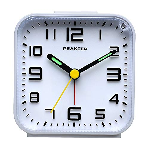 Peakeep 3D Numbers No Tick-Tock Analog Alarm Clock with Classic Beep Sound, Snooze, Manual Light and Battery Powered Small for Travel (White-3D)