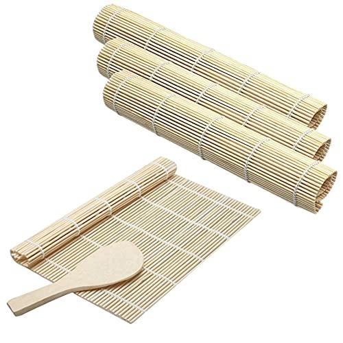 Cyleibe Kit De Fabrication De Sushis En Bambou ,4 Tapis De Sushi De Roulement ,1spatule à Riz, Sushi Diy Kit Tapis En Bambou Tapis De Cuisine En Bambou