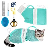 Cat Bag for Bathing 8 PCS Set with Cat Shower Net Bag Adjustable Pet Grooming Brush Nail Clipper Nail File Hair Combs Tick Tool Nail Caps, Nail Trimming Bath Cleaning Supplies Kit for Cats & Dogs
