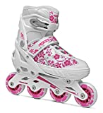 Roces Compy 8.0 Girl Inline Skates for Girl, Size Adjustable, Roller Skates, Child, White and Purple