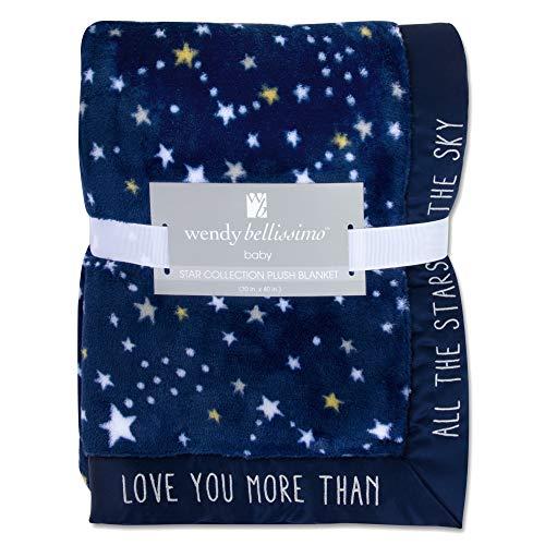 Wendy Bellissimo Super Soft Plush Baby Blanket  Stars Baby Blanket in Navy amp Grey 30x40
