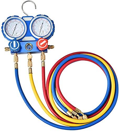 Kacsoo manometro del collettore con Tubo Flessibile di carico refrigerante manometro collettore 2500 psi Set di indicatori di refrigerante per R134A R410A R407C R22 AC Refrigerante