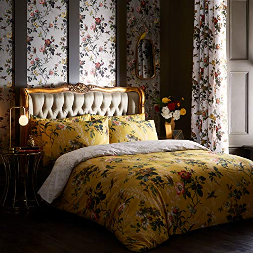 OASIS LEIGHTON Floral Duvet Cover & Pillowcase Bedding Set - Ochre - SINGLE - Ian's Emporium