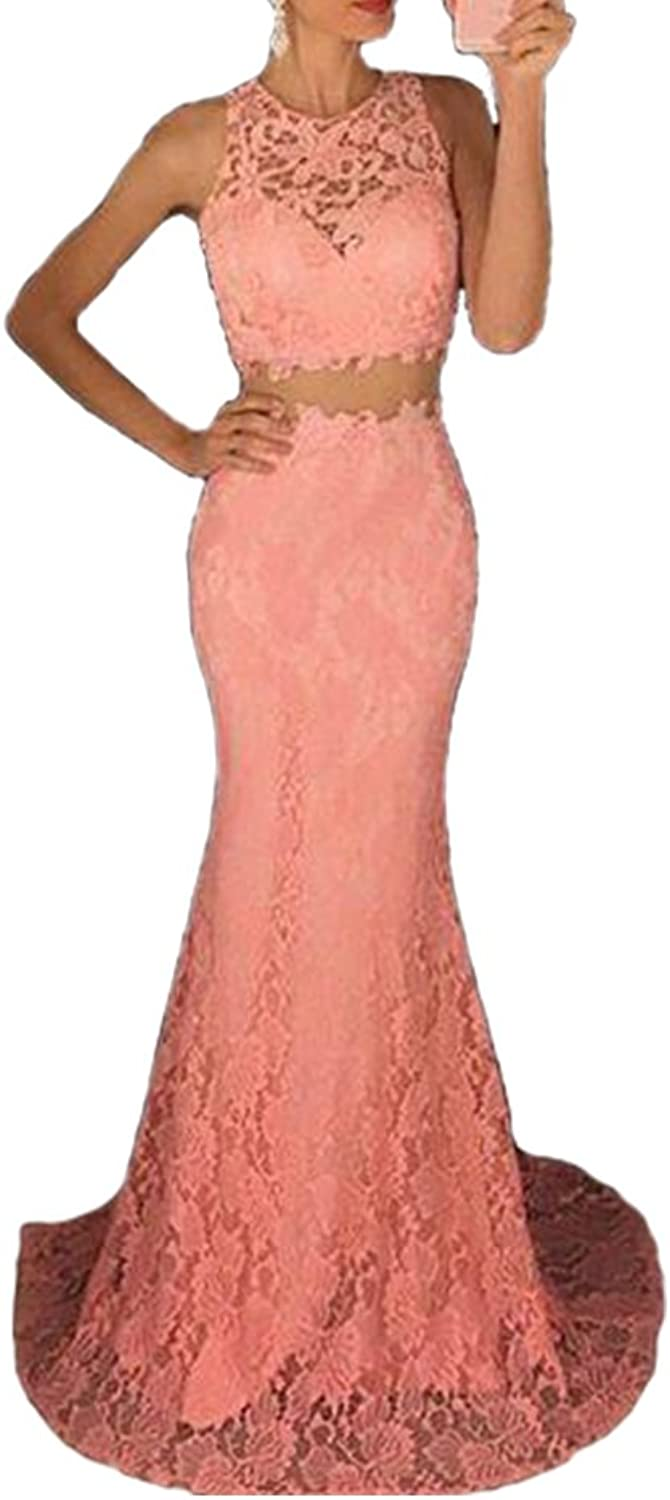 Menoqo Women's Mermaid Lace Sleeveless Formal Party Dresses Long Slim Evening