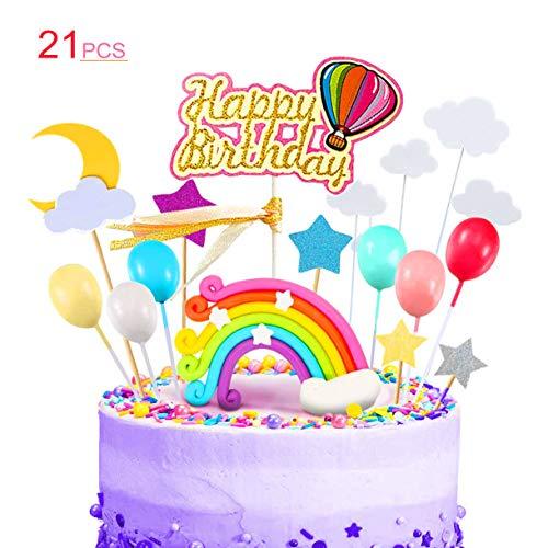 Kitchen-dream 21PCS Rainbow Cake Topper Kit Decoraciones con globos de arco iris Nubes Estrella Luna, Ideal para niños Fiesta de cumpleaños de niñas