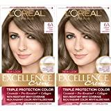 L'Oreal Paris Excellence Creme Permanent Hair Color, 6A Light Ash Brown, 100% Gray Coverage Hair Dye, Pack of 2