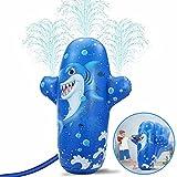 Bovn Juguete de Rociador para Niños, Aspersor de Juegos de Agua, Spalsh Pad, 2 Funciones, Juguete Bóxeo Tiburón para Jardín Césped Interiores Azul