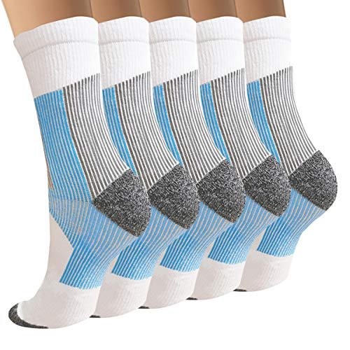3/5/8 Pairs Copper Compression Ankle Socks Women & Men Sport Plantar Fasciitis Arch Support - Best For Athletic &Travel (Small / Medium, A8 - 5 White - Crew)