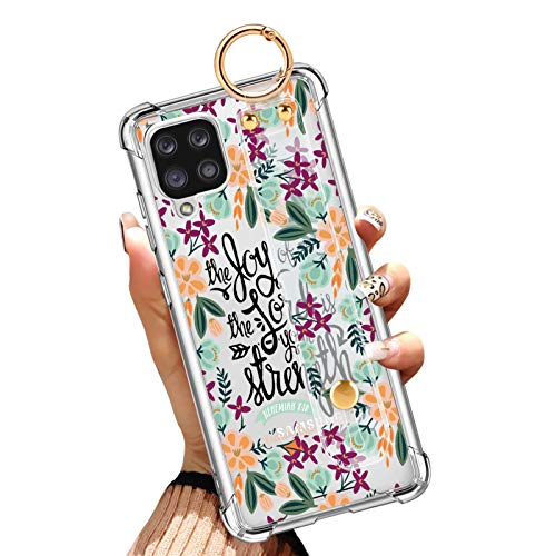 Samsung Galaxy A12 5G Case 6.5 Inch Reinforced Corners Protective Clear Phone Cover with Design Holy Christian Quotes Bible Verse Floral Flowers Case with Wrist Strap/Band Kickstand for Women Girls