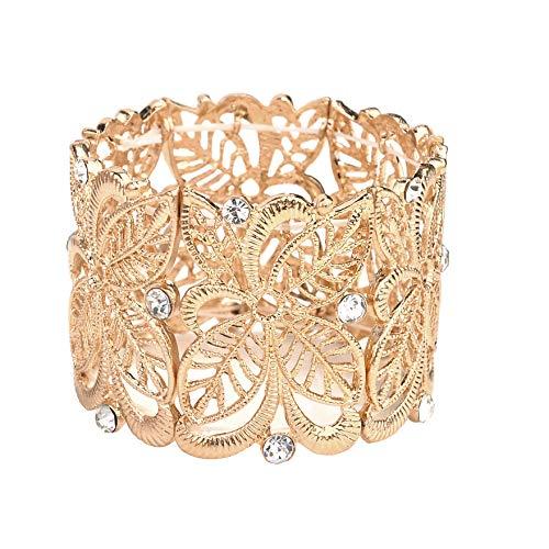 Nicole Miller New York Goldtone Floral Filigree Crystal Rhinestones Stretch Bangle Bracelets