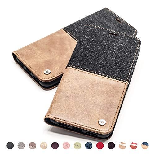 QIOTTI Hülle Kompatibel mit Galaxy S10 Plus Galaxy S10+ Ledertasche aus Hochwertigem Leder RFID NFC Schutz mit Kartenfach Standfunktion in Denim