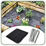 XUEXUE Weed Barrier Fabric, Weed Membrane Water Permeable and Tearproof Ground Cover, with 100pcs U-Shaped Garden Needle (Color : Black, Size : 1.5X40M)