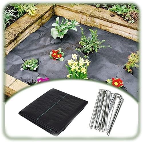 XUEXUE Unkrautvlies, Gartenvliese, Wasserdurchlässig Und Reißfest Bodendecker, Mit 100pcs U-förmiger Gartennadel (Color : Black, Size : 3X15M)