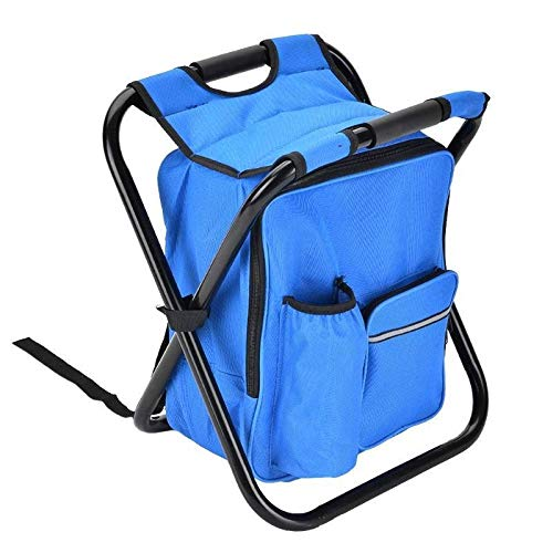 YTXR Best Camping Chairs 2 in 1 Folding Fishing Chair Bag Fishing Backpack Chair Stool Convenient Wear-resistantv for Outdoor Hunting Climbing Equipment (Color : Dark Blue)