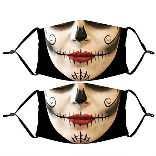 US Stock- 2pcs Adult Halloween Scary Face_Mask,Dheva Funny Face Smiley Printed Reusable Face Mouth Protection Dust Haze Breathable Facial Shiled w/Elastic Ear Loop for Women& Men Outdoor,Working