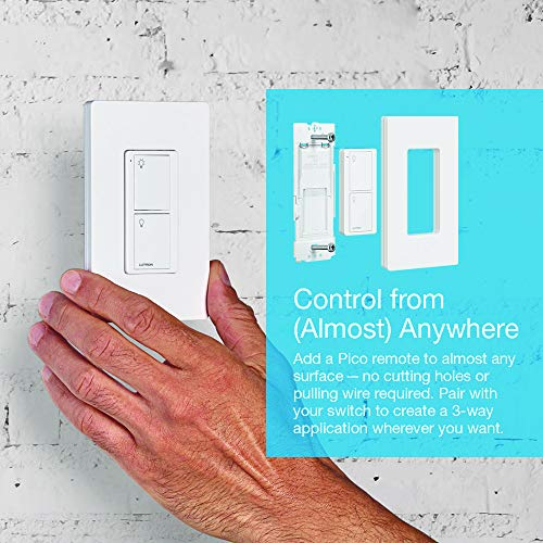 Lutron Caseta Smart Home Switch, Works with Alexa, Apple HomeKit, Google Assistant | 6-Amp, for Ceiling Fans, Exhaust Fans, LED Light Bulbs, Incandescent Bulbs and Halogen Bulbs | PD-6ANS-WH | White