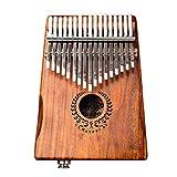 Suika Suika 親指ピアノ アフリカ楽器 カリンバ17キー ハンマー、スタディガイド、収納バッグ付き 初心者向け 花リングスタイル 木製