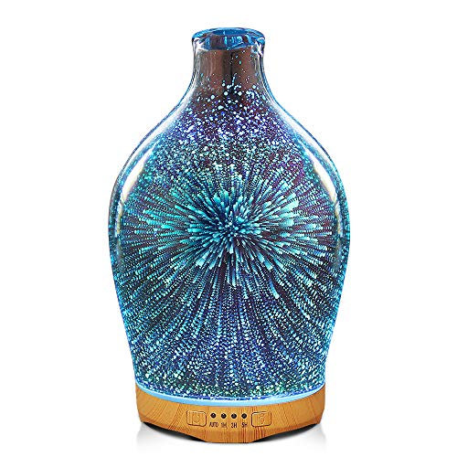 280ml 3D Glass Essential Oil Diffuser Aromatherapy Ultrasonic Humidifier - 7 Color Changing LEDs, Auto Shut-Off,Timer Setting, BPA Free for Home Hotel Yoga Leisure SPA Gift
