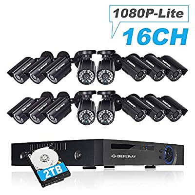 DEFEWAY 16CH Security Camera System,1080P-Lite 16 Channel H.264+ DVR Recorder, 16 x 720P Weatherproof Home Surveillance Bullet Cameras, Indoor Outdoor, Pre-Installed 2TB Hard Drive, 100ft Night Vision
