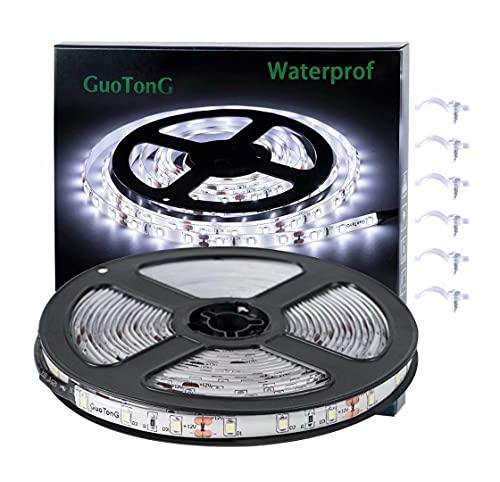 White LED Strip Lights, GuoTong Waterproof cuttable 300 SMD 2835 LED Tape, 6000K 12V 16.4ft/5m Flexible Ribbon, Kitchen Cabinet Lighting, Outdoor/Indoor (White(16.4ft))