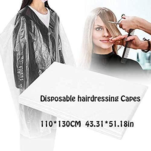 Jetable Coiffure Capes, imperméable Transparent Haircut Tablier Salon de Coiffure Capes for Cheveux Styling Coloration Dyeing Perm, 100PCS, 43,31 * 51.18in
