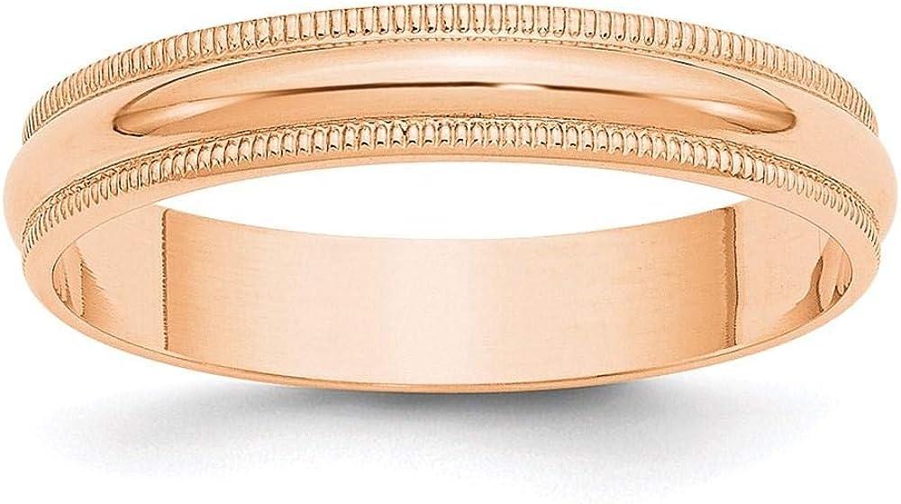 10k Rose Gold 4mm LTW Milgrain B Half Round Wedding Men's Ladies Max 62% OFF price