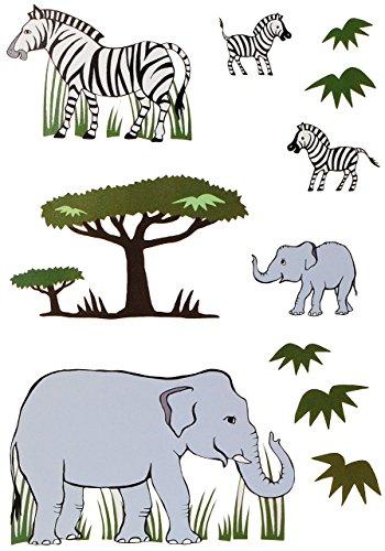 alles-meine.de GmbH 11 TLG. Set: Fensterbilder / Sticker -  Zebra & Elefanten  - Fensterbild Aufkleber für Kinderzimmer - Kinder - Wandtattoo Wandsticker Fensterfolie - Zootier..