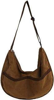 Ulisty Damen Grosse Kapazität Cord Schultertasche Retro Handtasche Mode Umhängetasche Tägliche Tasche Kaffee