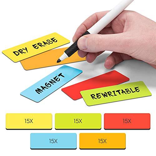 2DOBOARD Tiras magnéticas para escribir – 7,5 cm x 2,5 cm multicolor – 75 unidades – Planificador semanal – para pizarras magnéticas y refrigeradores – Rojo, verde, naranja, azul, amarillo