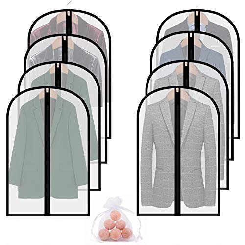 Garment Bags for Closet Storage8 Packs 40 Clear Moth Proof Breathable Hanging Lightweight Dust Covers with Cedar Ball and Study Full Zipper for Suit Jacket Coat Clothes Clothing Wardrobe and Travel