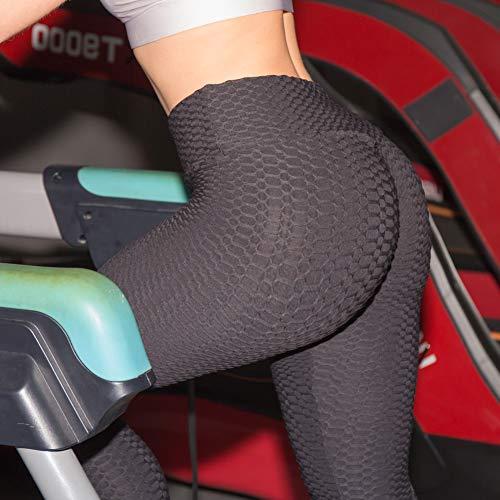 huangThroStore Damen High Waist strukturierte Workout Anti-Cellulite Kompression-Leggings Slim Fit Butt Lift Elastische Hosen Scrunch Yoga Pants Slimming Rüschen...