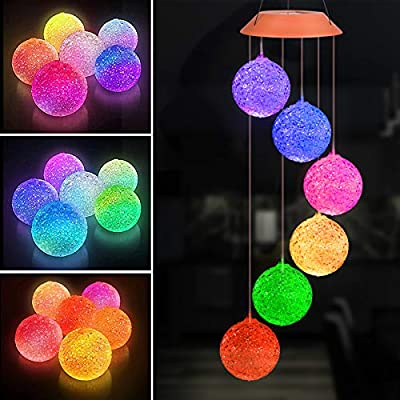Solar Crystal Ball Wind Chimes, Color Changing Solar LED Lights Outdoor Indoor Waterproof Mobile Hanging Decorative Garden Light Gift for Mom, Grandma, Women, Birthday, Christmas, Anniversary