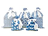 100% Cotton Fabric Gift Bags (Standard Set, Blue) Set of 5 bags, three 12x16 inch and two 8x10 in...