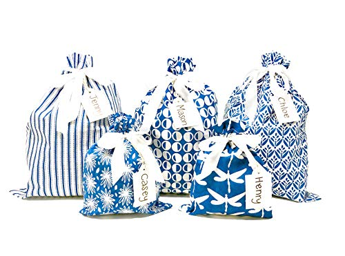 100% Cotton Fabric Gift Bags (Standard Set, Blue) Set of 5 bags, three 12x16 inch and two 8x10 in bags