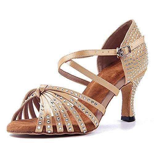 Naudamp Zapatos Baile Latinos Mujer Diamante de Imitación Mujeres Salón de Baile Latino Zapatos Suela de Ante