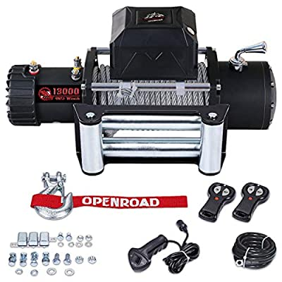 OPENROAD 13000lbs Electric Winch with Cable,12V DC Waterproof IP67 4WD Truck Winch,13000 lb. Load Capacity Fit for Jeep,Truck,SUV with Wirless Remote and Corded Control